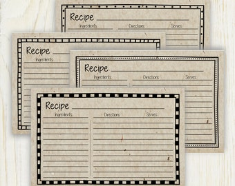 Vintage Style 4x6 Recipe Cards - Printable -  No 892 - Lined