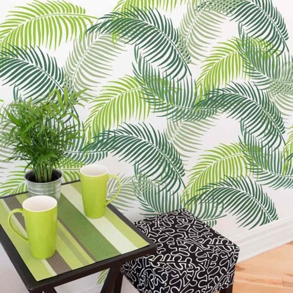 Palm Frond Stencil Tropical Wall Art Design For An Easy And