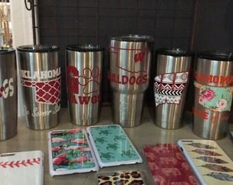 Ozark thermal cups custom made glitter or matte