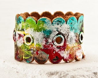 Ideas For Gifts - Art Jewelry - Colorful Cuffs Bracelets - Funky Unique Gifts - Painting Original - Multi Color