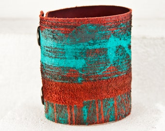 Teal Jewelry Turquoise Bracelets Leather Cuffs Wrist Bands - Hand Painted Leather Accessories - Womens Gift
