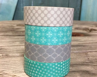 Washi Tape Set - 15mm - Grey and Aqua Color Combination - Washi Tape Four Rolls  520,825, 844, 964