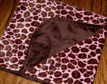 SALE!! Baby Girl Minky Blanket Pink Brown Cheetah Minky