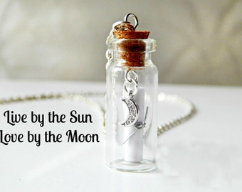 Message in a Bottle Necklace Custom Message Moon Charm Silver Chain