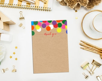 Rainbow Confetti Thank You Cards with White Envelopes. Confetti Thank You Cards. Thank You Cards. Rainbow Thank You Cards. Kraft thank you.