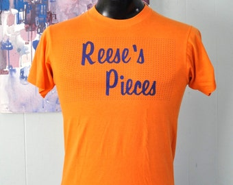 80s Vintage Tee Reeses Pieces Sports Tee Number 1 Orange Soft Thin TShirt Small Medium
