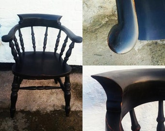 Vintage Captain's Office Chair in Miss Mustard Seed Milk Paint