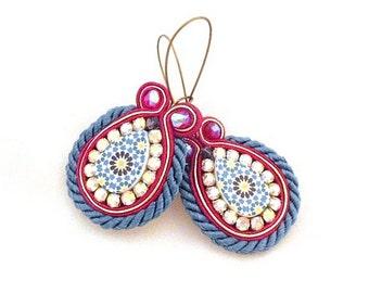 Red blue earrings , dangle earrings , statement soutache earrings ,   - Charlotte -  handmade earrings , accessories beads of aquarius