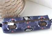Navy Blue Woodland Cute Pencil Case Boxy Pouch Woodland Zipper Pouch Blue Pencil Pouch
