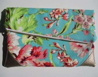 Teal and Pink Floral Amy Butler Love Bliss Bouquet Foldover Clutch Purse READY TO SHIP