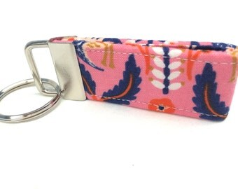 Rifle Paper Co. MINI Key fob Les Fleurs Fabric Tapestry Rose Pink Blue