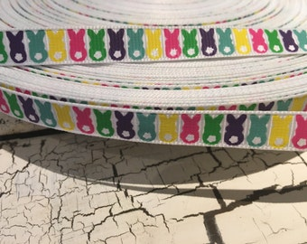 """3/8"""" Easter Glitter Bunny Rabbit Multicolored Grosgrain Ribbon sold by the yard"""