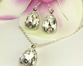 Prom Jewelry Large Pear Shaped Diamond Look Necklace Earring Bling Jewelry Swarovski Crystal Pear Necklace Pear Earring Pear Pendant Celina