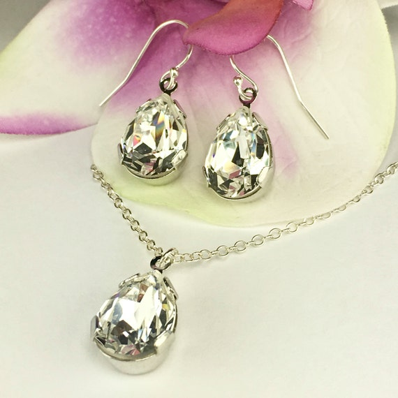 Pear Shaped Bridal Jewelry Set Swarovski by TwoBeWedJewelry