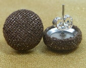 Shimmering Brown Fabric Button Earrings
