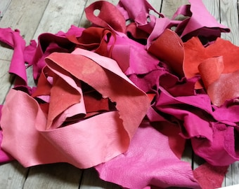 Red and Pink Salvaged Leather Scraps- Buckskin Leather Pieces-  One Pound Bag Lot No. 160625-Z