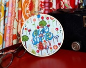 """Be Awesome Today - 4"""" Custom Embroidery Hoop in Mod Forest"""
