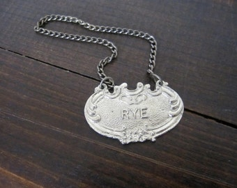 Vintage RYE Liquor Tag, Decanter Bottle Tag Label, Vintage Barware