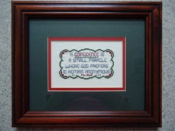 A Coincidence Is - Inspirational Cross Stitch Picture - Wall Decor