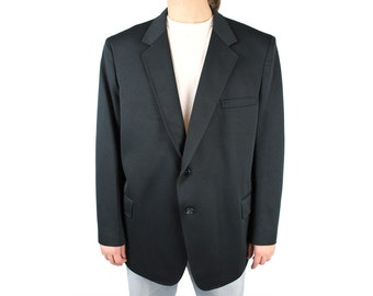 Mens Vintage Blazer 50R Solid Black Polyester Sports Coat Suit Jacket Blair 80s Free US Shipping
