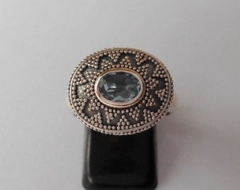 Awesome Balinese Silver Topaz Ring /  /sterling silver / Bali handmade jewelry / silver granulation / size: 6 ready to ship