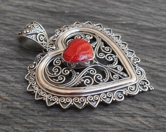 Sterling Silver red coral Heart Pendant / silver 925 / Balinese jewelry / 2 inch long