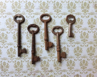 Vintage Skeleton Keys - Lot 3 - Qty 5 - FREE SHIPPING U.S.