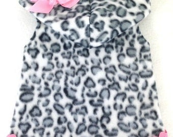 Lovin Leopard Sleeveless Cuddle Hoodie Dog Clothes Size XXXS by Doogie Couture