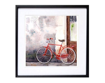 Bike Print  Watercolor Print Florence Italy print Gray painting wall art Red bicycle print bike travel print wall art decor A