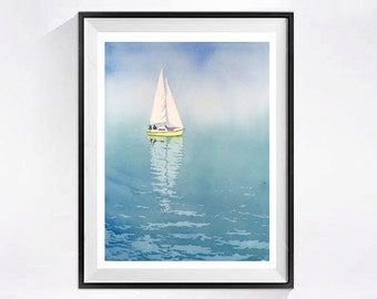 Seascape ship painting Sailboat Art Watercolor painting PRINT, Boat ocean watercolor, Blue Lake Geneva boats in watercolor painting  BCBT