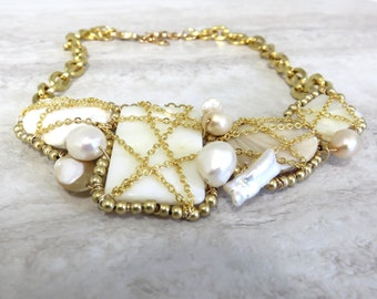 Small Bib Necklace Wrapped in Messy Gold Chain-Ivory White Mother of Pearl Gold Statement Beach Necklace by Sharona Nissan 4051-N