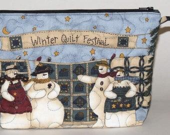 Quilted Makeup Bag, Wristlet, Clutch, Quilt Guild, Winter Festival