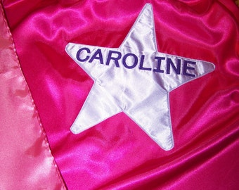 Hot Pink Girls Superhero Cape or Princess Cape Custom with Initial or Name Washable Satin