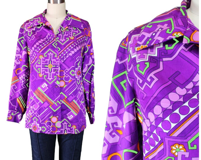 60s Print Shirt / Psychedelic Groovy Hippie Shirt / Big Print Blouse / Art Print Blouse / Tunic Print Blouse / Geometric Print Blouse