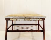 Vintage Stool Wood and Metal Industrial Step Stool