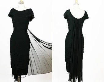 Vintage 1950s 50s Black Draped Shirred Hourglass Vixen New Look Party Dress M
