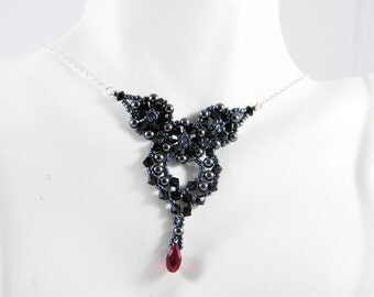 "Jet Black and Ruby Swarovski Crystal and Glass Pearl Beaded Heart Sterling Silver- ""Gothic Empress"""