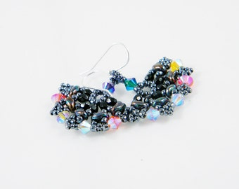 "READY TO SHIP Midnight Carnival Superduo Swarovski Beadweaving Earrings ""Carnival Fans"""