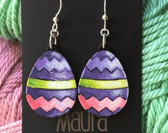 Hand Painted Easter Egg Earrings