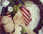 Southern Summer Flag & Cotton Wreath