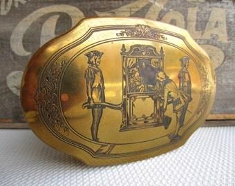 Vintage Schrafft's Brass Tin Candy Box Metal Dresser Box Treasure Box