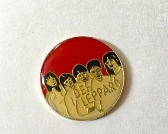 FALL SALE Def Leppard Enamel Button Rock Music Lanyard Flair Cloisonné NOS
