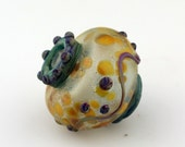 Hollow Lampwork Glass Bead, Large Urn Focal, Vessel Bead, Blue, Green, Etched Matte