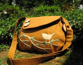 Bird  Shoulder Bag, Canvas Tote, Nature Purse, Messenger, Ultra Suede Applique, 17 Colors Available