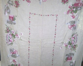 1950s PRINT KITCHEN TABLECLOTH - Old Fashion Garden