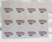 Teacup Stickers Small Stickers 1 inch round Envelope Seals Stickers SES320