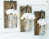Rustic Farmhouse... Wood Wall Decor...Set of 3 Individual Hanging Mason Jars... Candle Lantern...Made to Order