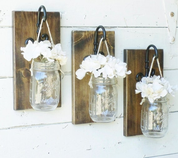 Mason Jar Wall Decor How To : Rustic farmhouse mason jar wall decor set by
