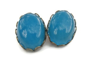 Vintage Bright Blue Clip On Earrings