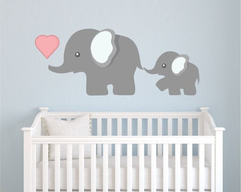 Elephant Wall Decal, Nursery Wall Decal, Mom And Baby Elephant Decal, Elephants Decal Sticker, Animal Decal, Nursery Decals- Kids Decal  P41